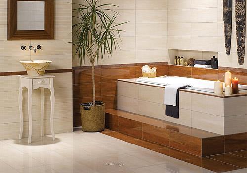 Напольная плитка в ванной песочного оттенка (фото)