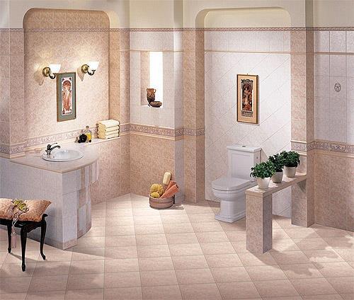 Красивая керамическая плитка на полу ванной (фото)