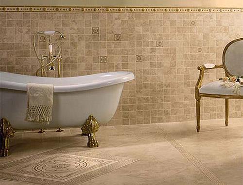 Напольная плитка в цвет интерьера ванной (фото)