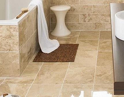 Напольная плитка из керамогранита в ванной (фото)