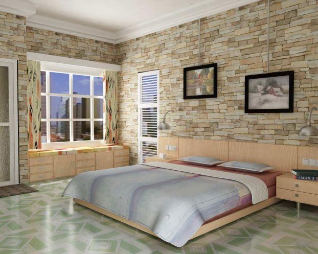 искусственный камень в спальне