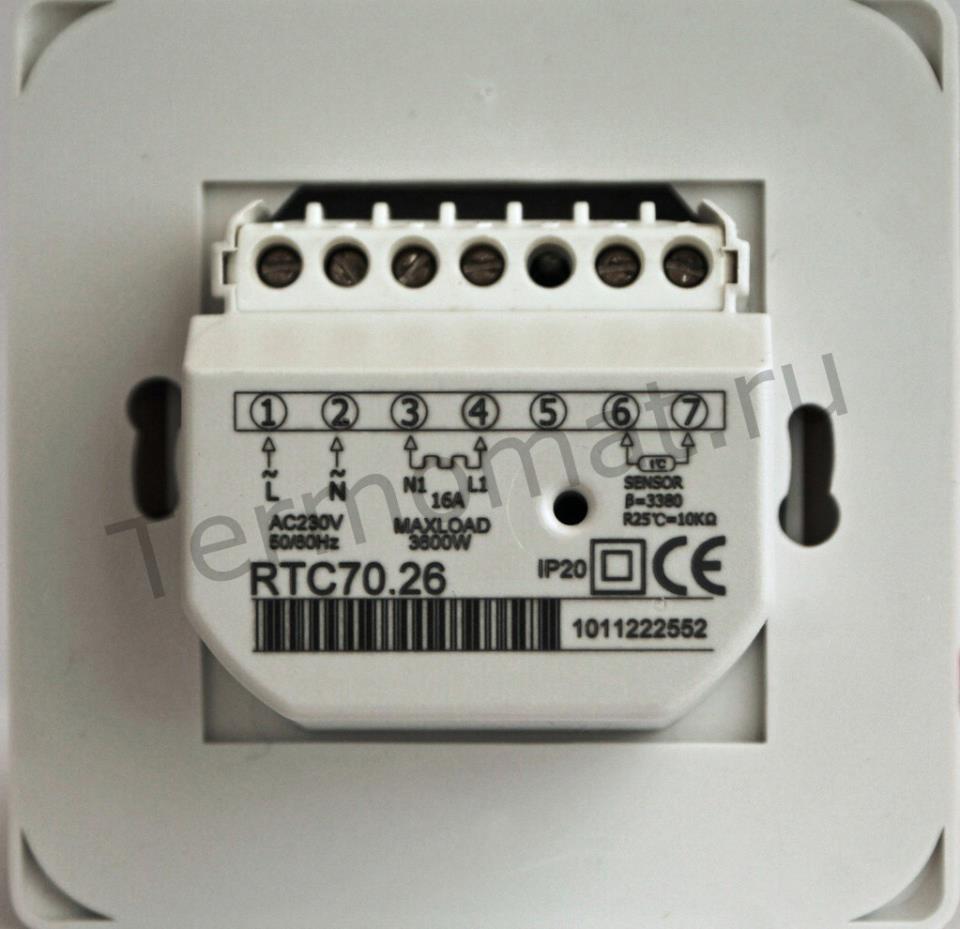 Терморегулятор для пола RTC70.26 (вид сзади)