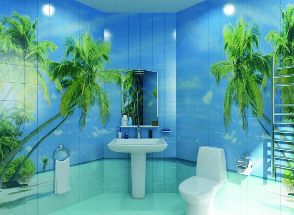 Используя керамическую плитку для панно в ванной, можно сделать красочный и индивидуальный пейзаж самого красивого места в мире