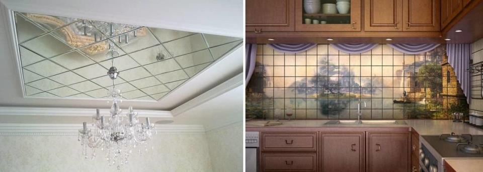 Панно из стеклянной плитки можно использовать как на кухне, так и в комнате на потолок