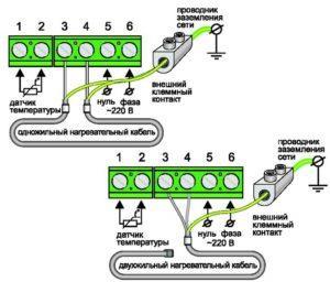 Схема подключения электрического теплого пола к терморегулятору