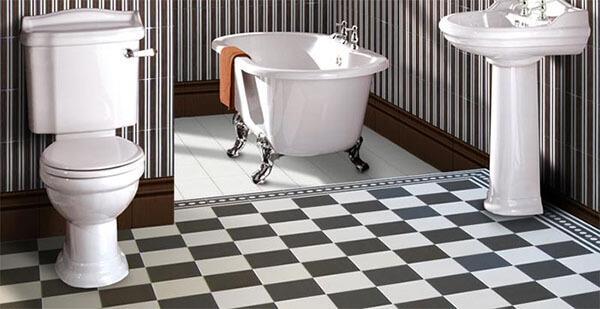 Кафель на полу ванной