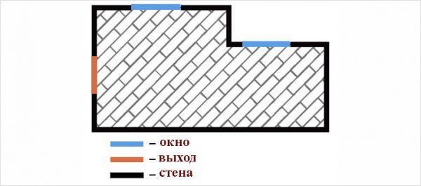Схема диагональной укладки ламината.