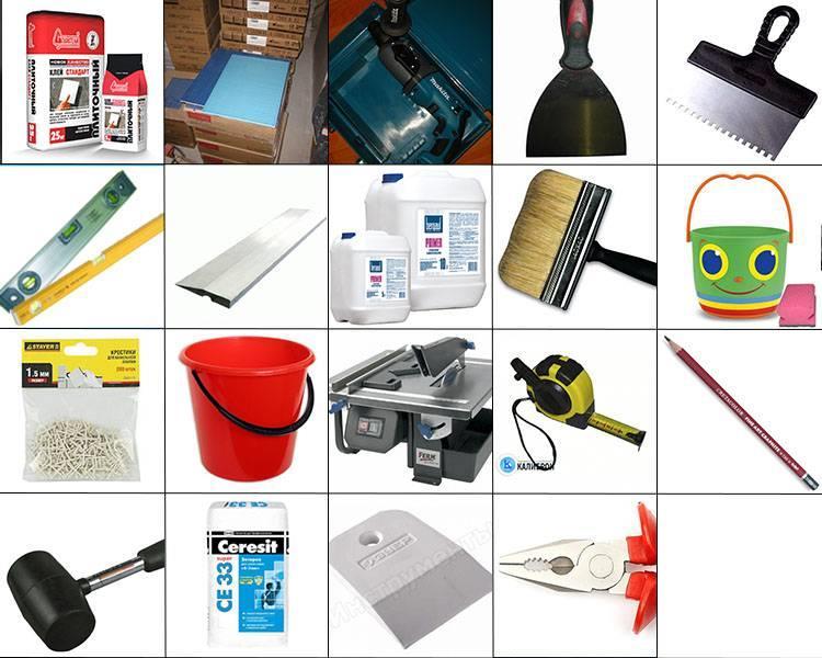 Различные инструменты для кладки плитки у себя дома