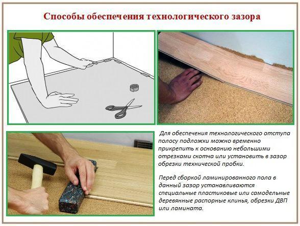 способы обеспечения технологического зазора для пробковой подложки