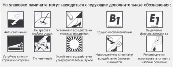 Дополнительные обозначения на упаковке ламината