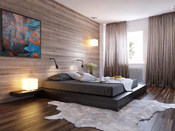 Ламинат в интерьере спальни в стиле минимализм