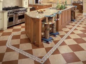 Линолеум на кухне маркетри