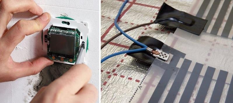 Терморегулятор фиксируется на ИК пленку с помощью скотча