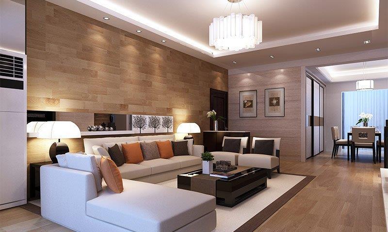 Стена обшитая ламинатом имеет идеально ровную и гладкую поверхность