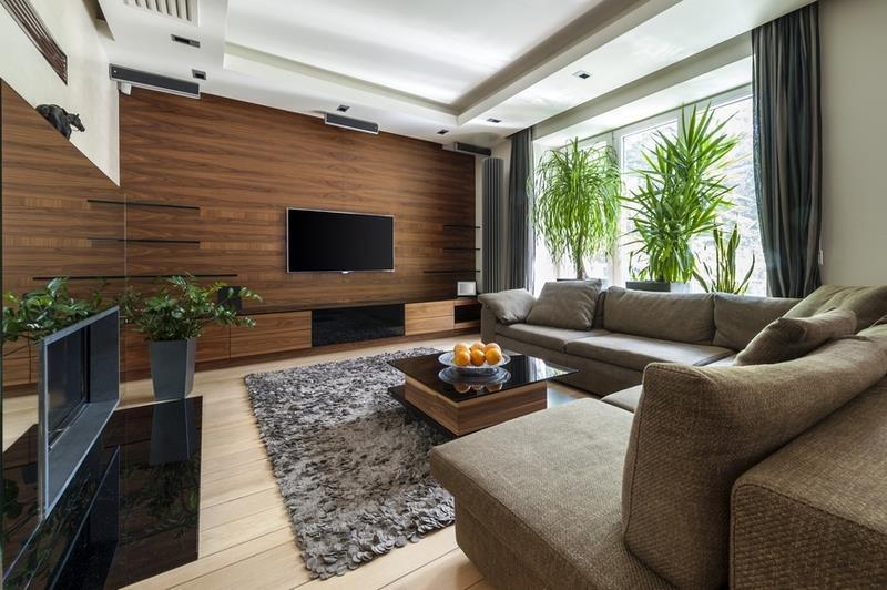 Каждый элемент декора великолепно дополняют общую атмосферу гостиной