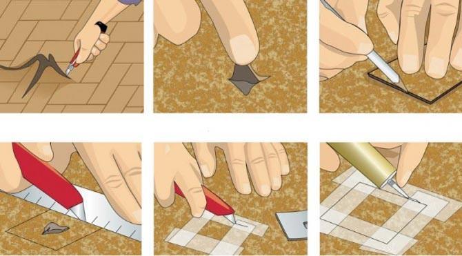 Как заделать дырку в линолеуме фото