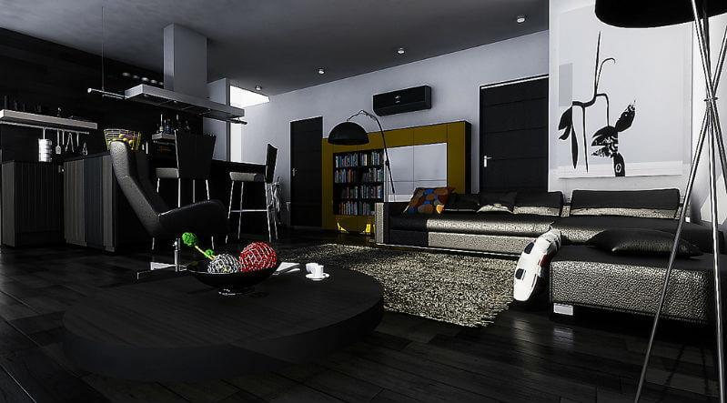 Черный паркет, интерьер комнаты, фото