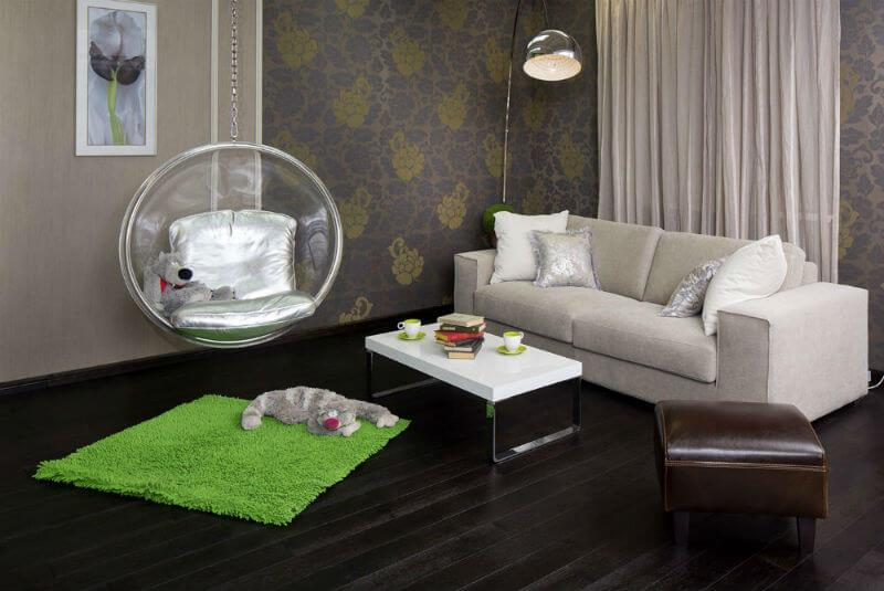 Черный паркет, интерьер гостиной, массивная доска Дуб Венге, фото