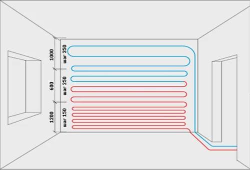 монтаж системы водяных теплых стен шаг укладки труб
