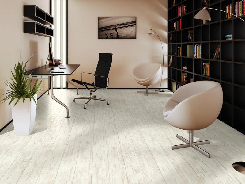 Белый ламинат в интерьере рабочего кабинета