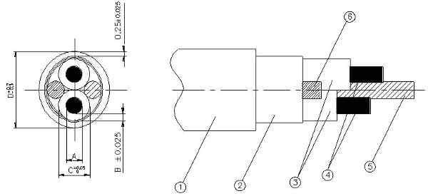 Чертеж нагревательной жилы и кабеля на мате Devimat DTIF-150