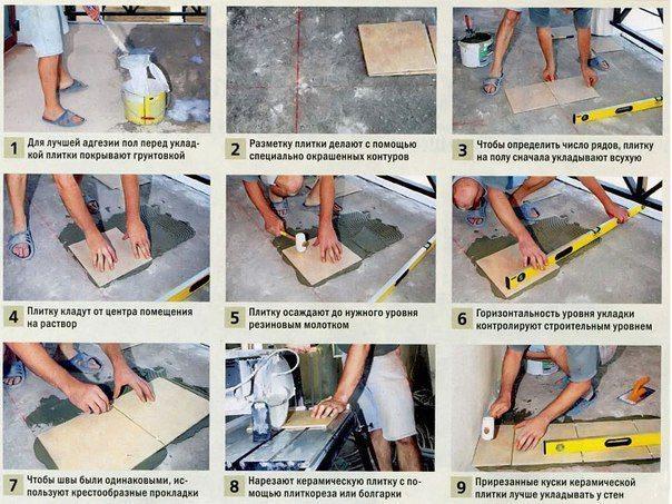 Укладка плитки в доме на пол своими руками
