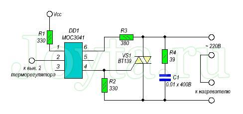 Схема программируемого терморегулятора на микроконтроллере PIC16f84 для теплого пола