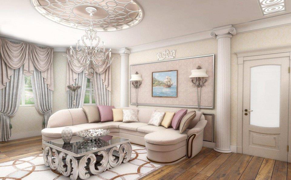Интерьер гостиной в жемчужном цвете