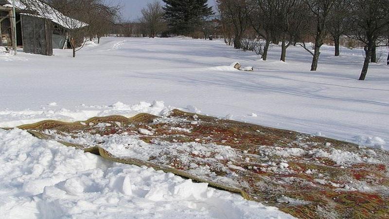 Как правильно чистить ковёр снегом
