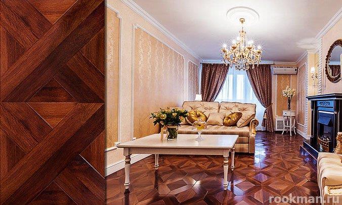 Ламинированное напольное покрытие Версаль Дуб Античный 33 класса под художественный паркет в интерьере квартиры