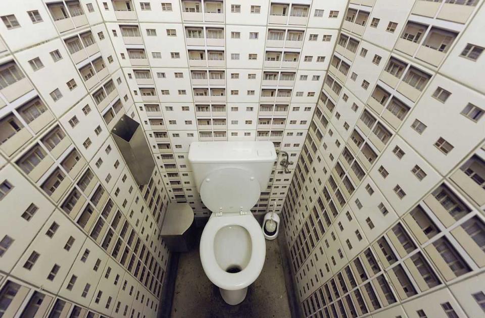 Оригинальный дизайн в туалете