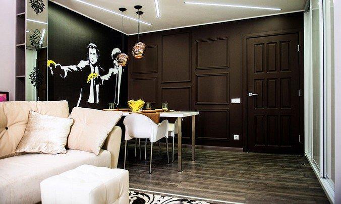 Серый ламинат в интерьере гостиной совмещенной со столовой