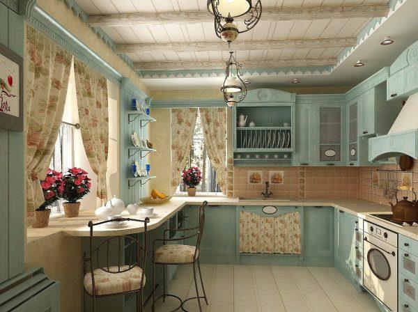 Ламинат, стилизованный под плитку на кухне в стиле прованс