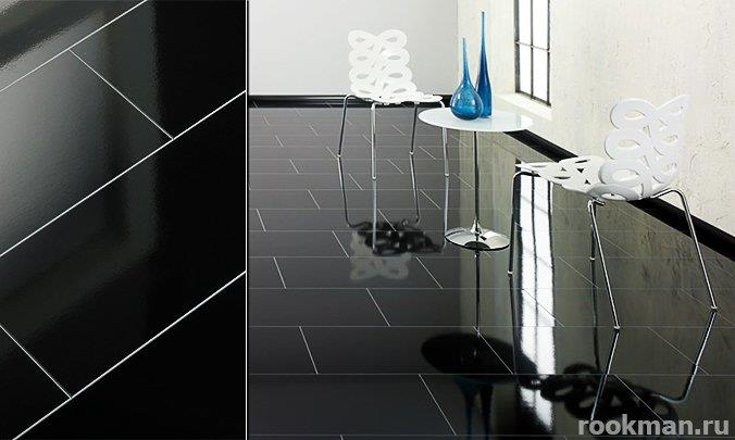 Ламинат черный глянцевый Elesgo SuperGlanz V5 Черный