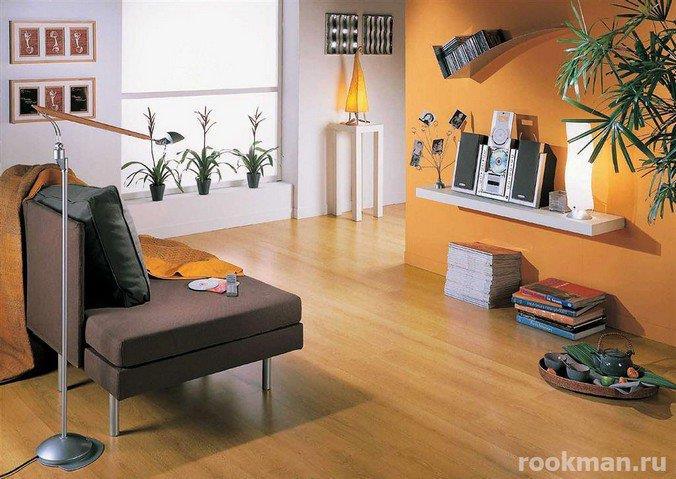 Фото глянцевого ламината в маленькой гостиной