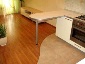 Сочетание ламината и керамической плитки на полу кухни