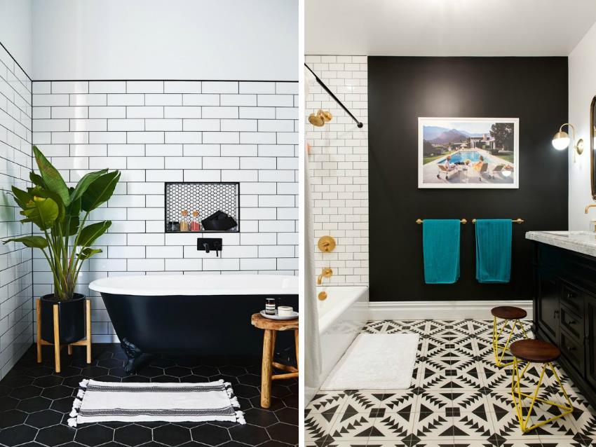 Использование монохромных контрастных оттенков плитки является довольно популярным решением для оформления современных интерьеров ванных комнат
