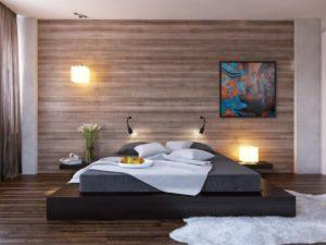 Отделка стен ламинатом в спальне