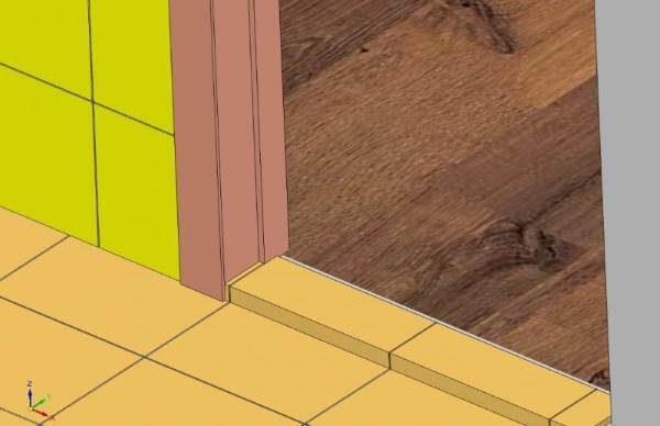 Перепад пола в санузле и коридоре