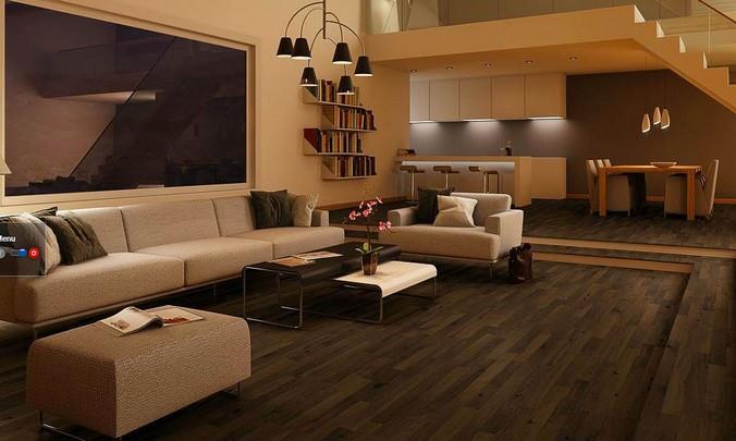 Использование в интерьере гостиной коттеджа ламинированной доски с декором под темный состаренный дуб от немецкого бренда Quick Step