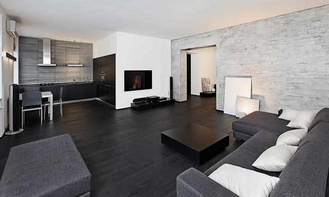 Пол из темного ламината в гостиной в стиле минимализм