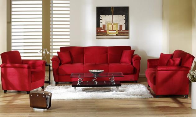 Фото: красная мебель прекрасно сочетается со светлым полом