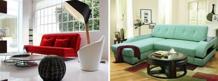 Цветной диван в нейтральном интерьере