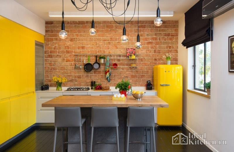 Желтые кухни - 104 фото
