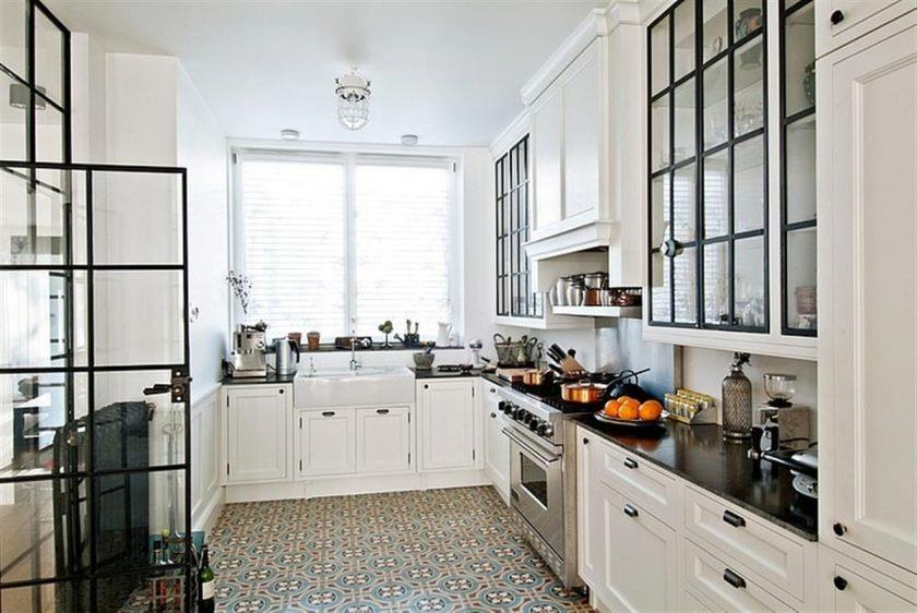 kitchen-tile-flooring-with-white-cabinets