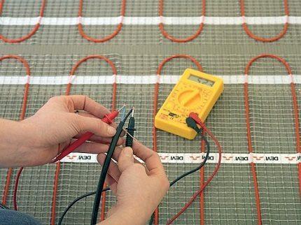 Проверка кабеля теплого пола