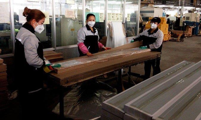 Цех по производству ламината в Китае