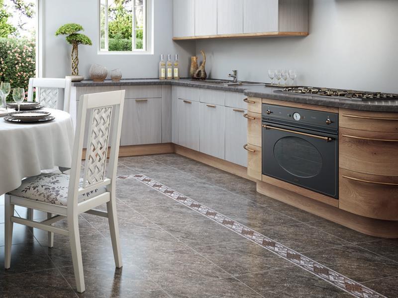 Линолеум под керамическую плитку на полу кухни