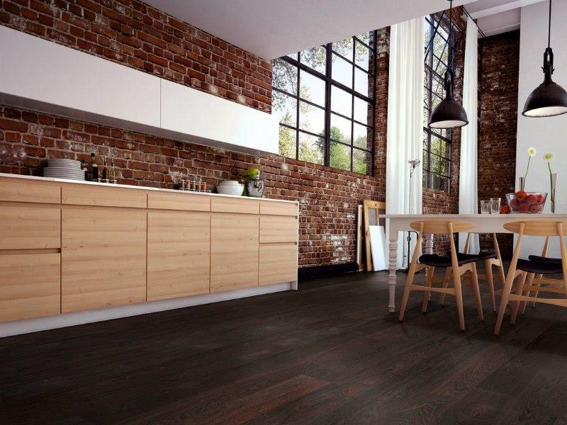 Темно-коричневый линолеум в интерьере гостиной индустриального стиля