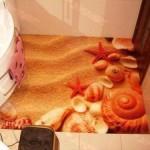 Берег моря с помощью наливного пола в ванной